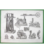 STEAM & Water Wheels Fire Engines Pumps - 1870 Antique Print Engraving - $16.83
