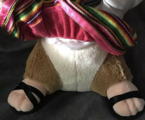 "Gemmy Hamster Mexican Spanish Dressed Girl Dress plush Doll 10"" Rare Gift! image 3"