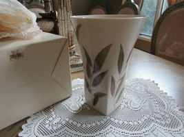 "Vtg Lenox China Whispering Leaves Large Floral Vase 10-7/8"" Squared Bottom Boxed - $34.60"