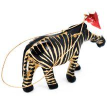 Hand Carved & Painted Jacaranda Wood Santa Hat Zebra Safari Christmas Ornament image 4