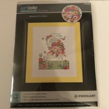 Artiste Counted Cross Stitch Kit New Blooming Chair 8x10 Finished Size Zweigart - $12.86