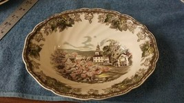 """Friendly Village Johnson Brothers 9"""" Oval Vegetable Bowl The Village Green  - $12.73"""