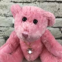 June Teddy Bear Plush W/Angel Wings Heart Necklace Pink Sitting  Stuffed Animal - $11.88