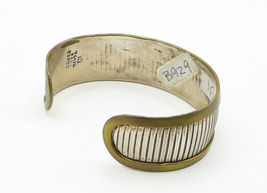 MEXICO 925 Sterling Silver - Vintage Two Tone Linear Etched Cuff Bracelet- B6282 image 3