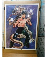 Vintage Bruce Lee Vintage Dragon Poster Cartoon Style - $39.59