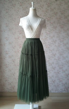 ARMY GREEN Layered Long Tulle Skirt Wedding Bridesmaid Tulle Skirt Plus Size image 2