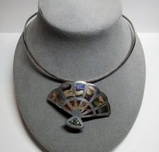 Sterling Silver Collar Cuff Necklace MEXICO TAXCO Abalone Fan Pendant Pi... - $51.48