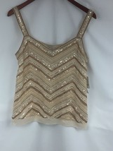 Liz Claiborne Womens Top Tank Sheer Sequined Embroidered Gold Tones Sz L... - $19.21