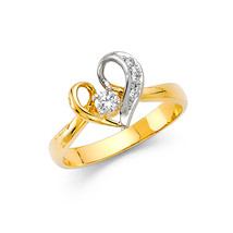 14K Solid Gold Brilliant Heart Cubic Zirconia Fancy Ring - £168.43 GBP