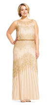Adrianna Papell Champagne/Gold Sheer Neckline Embellished Blouson Gown 1... - $276.21