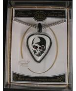 Glass Baron Skeleton Skull Guitar Pick Necklace Red Eyes  - $15.83