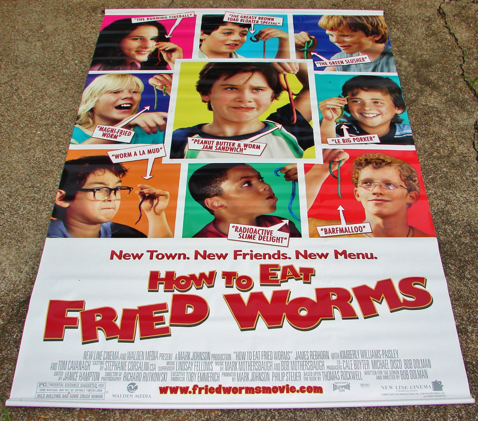 "2006 HOW TO EAT FRIED WORMS Movie Vinyl Theater Banner 48""x70""     (5)"
