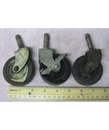 """Lot of 3 Vintage Industrial Medium Metal Castors Wheels 2 3/8"""" Wheel Swi... - $22.28"""