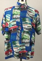 Reyn Spooner Hawaiian Shirt Mens Medium Mustang Muscle Cars Palm Trees T... - $24.74