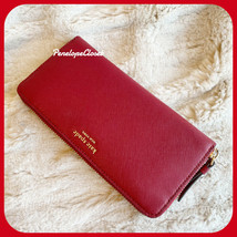 NWT KATE SPADE LEATHER CAMERON LARGE CONTINENTAL  WALLET IN ROSSO - $97.89