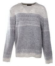Tasso Elba Men's Ivory Pearl Crewneck Fair-Isle Wool Knit Pullover Sweat... - $41.99