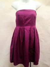 J Crew 8 Dress Strapless Magenta Purple Empire Waist Pleated Party Wedding - $27.43