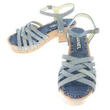 CHANEL Sandals Denim Wood Cork Blue G33537 Footwear CC Logo Women's Size 36 - £477.69 GBP