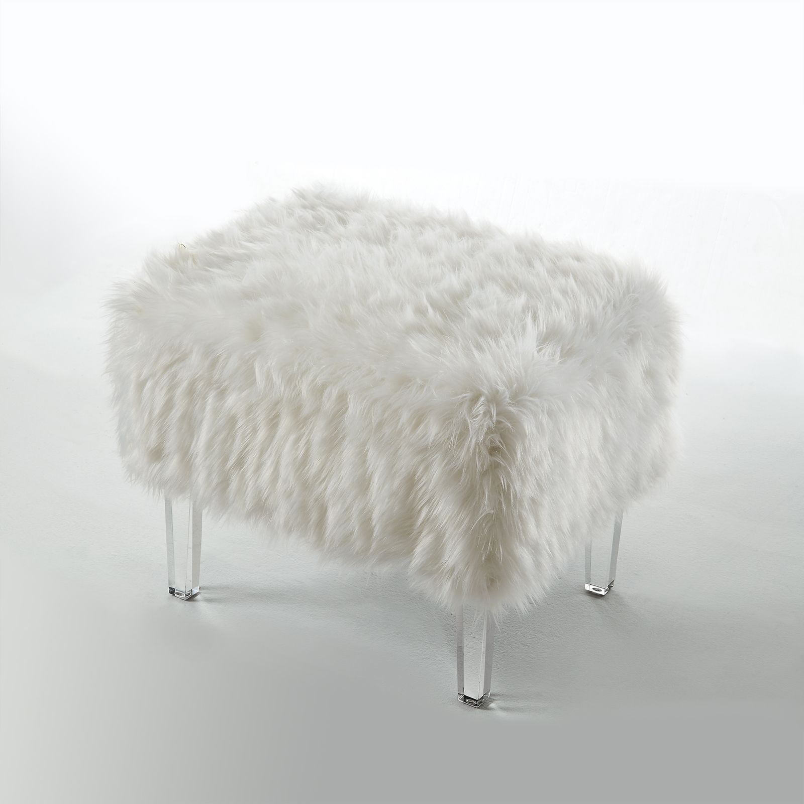 Faux Fur Square Ottoman Bench Upholstered Bedroom
