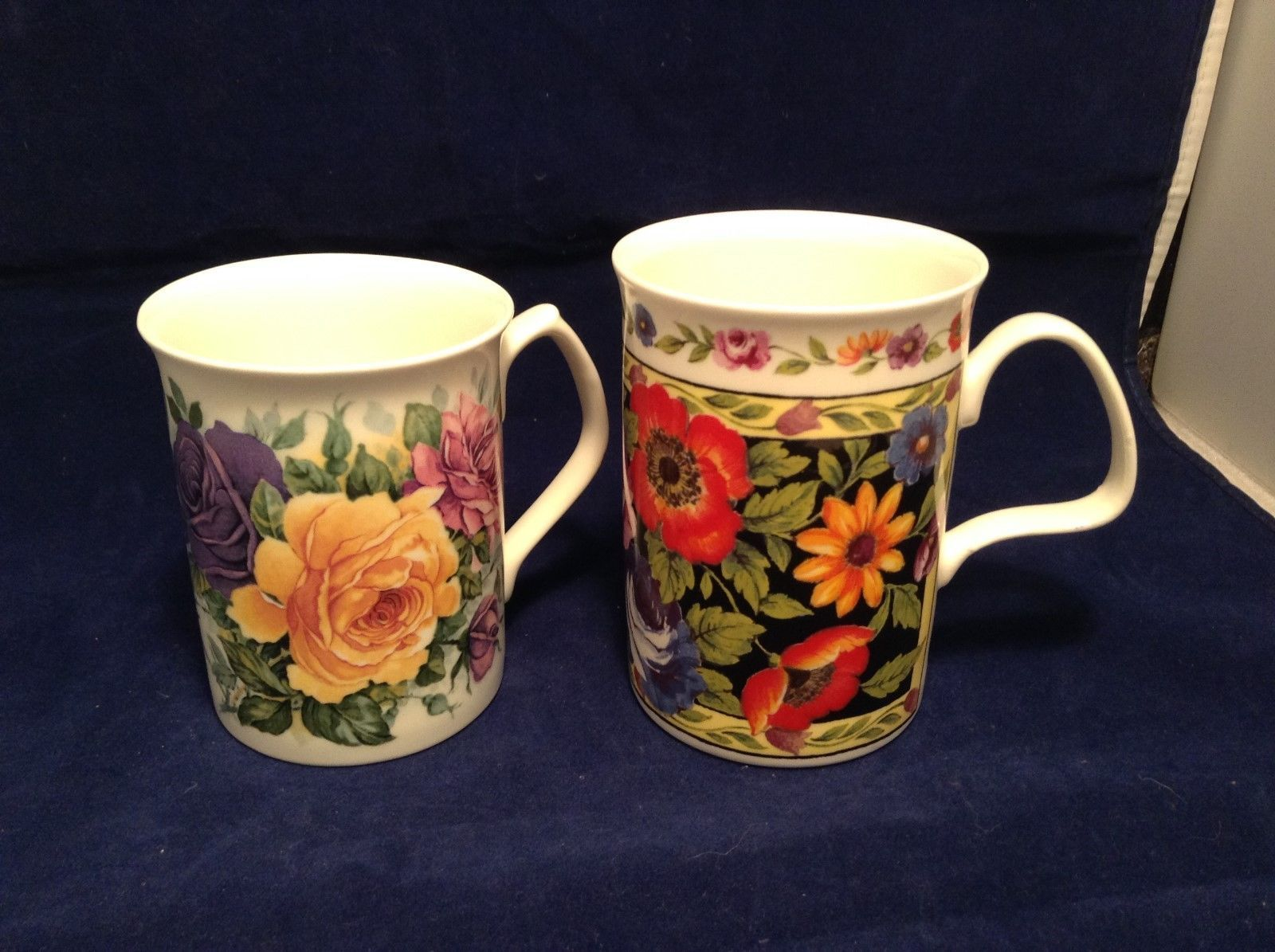 English Lascelles/Royal Garden Fine Bone China Set of Floral Mugs