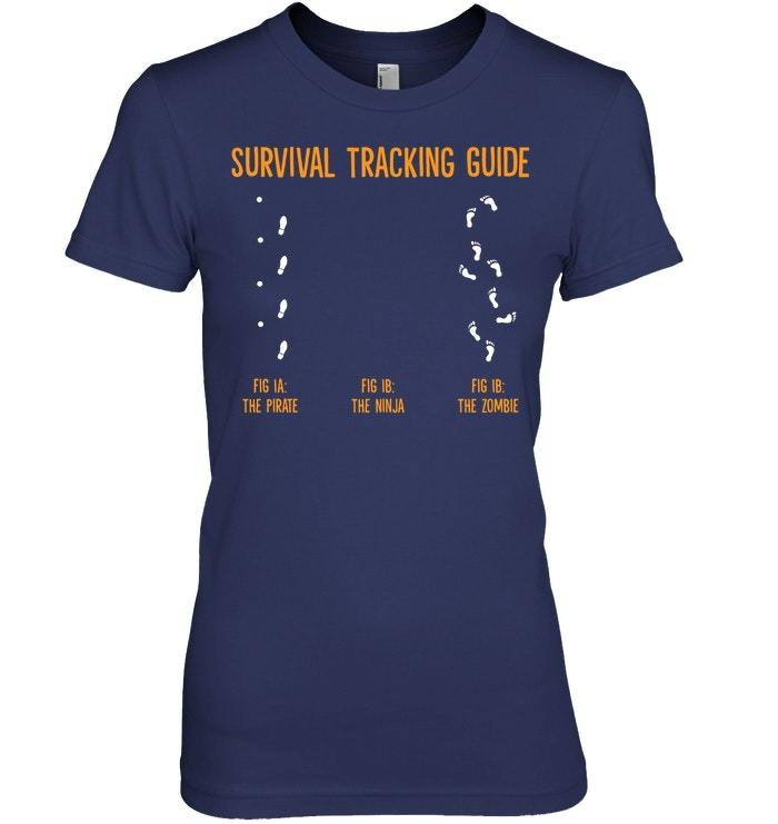 Funny Pirate Zombie Survival Tracking Guide Tshirt
