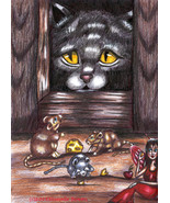Cat spying on Mice original art print animal colored pencil drawings fai... - $7.99