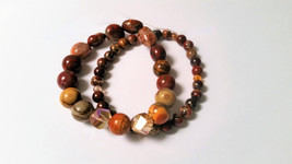 Red Creek Jasper, Brecciated Jasper and Cut Glass Crystals Stretch Brace... - $27.00