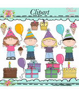 Birthday Kids Clip Art with Line Art - $1.35