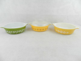 3 Pyrex Small Casseroles w-Lid 471-B Butterfly Gold Crazy Daisy Cross St... - $19.79