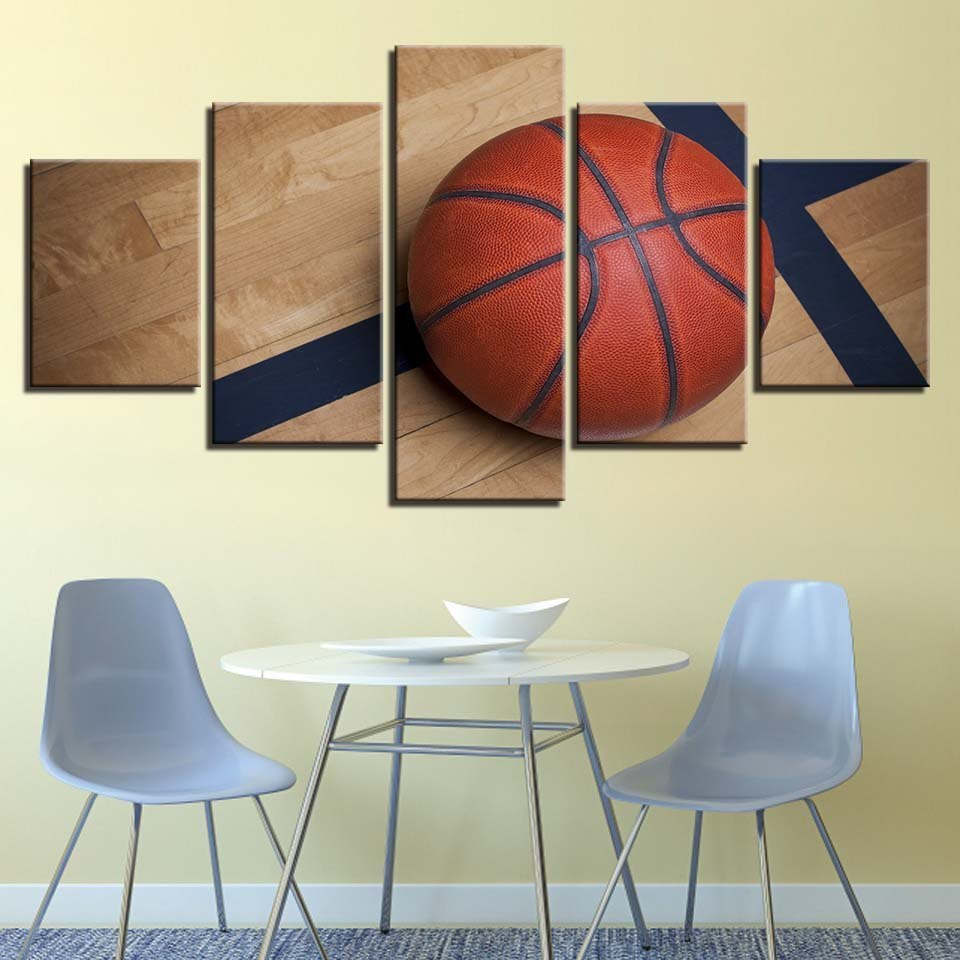 Basketball Sports Canvas Wall Art For Boys Bedroom Decor: Sports Basketball Picture 5 Piece Canvas Art Wall Art