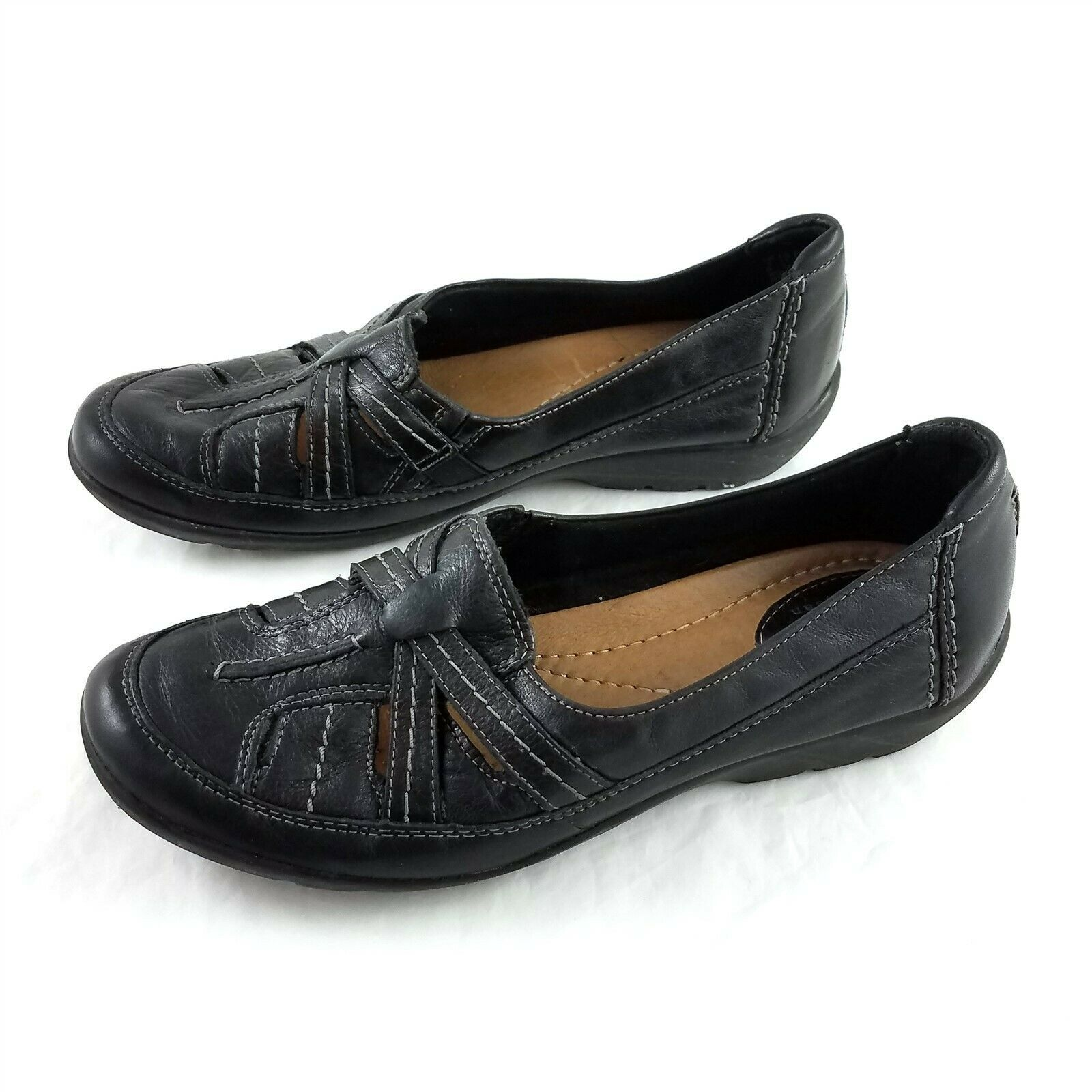 Primary image for Clarks Artisan Black Leather Loafers Flats Slip On Casual Shoes Womens 7.5 M