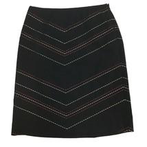 Ann Taylor Womens Black Embroidered Career Work Mini Pencil Skirt Sz 8 - $10.89