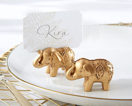 24 Gold Indian Asian Lucky Elephant Bridal Wedding Place Card Holder Favor - $69.95