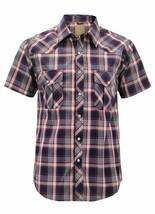 Men's Casual Short Sleeve Western Button Down Plaid Pearl Snap Cowboy Shirt image 1