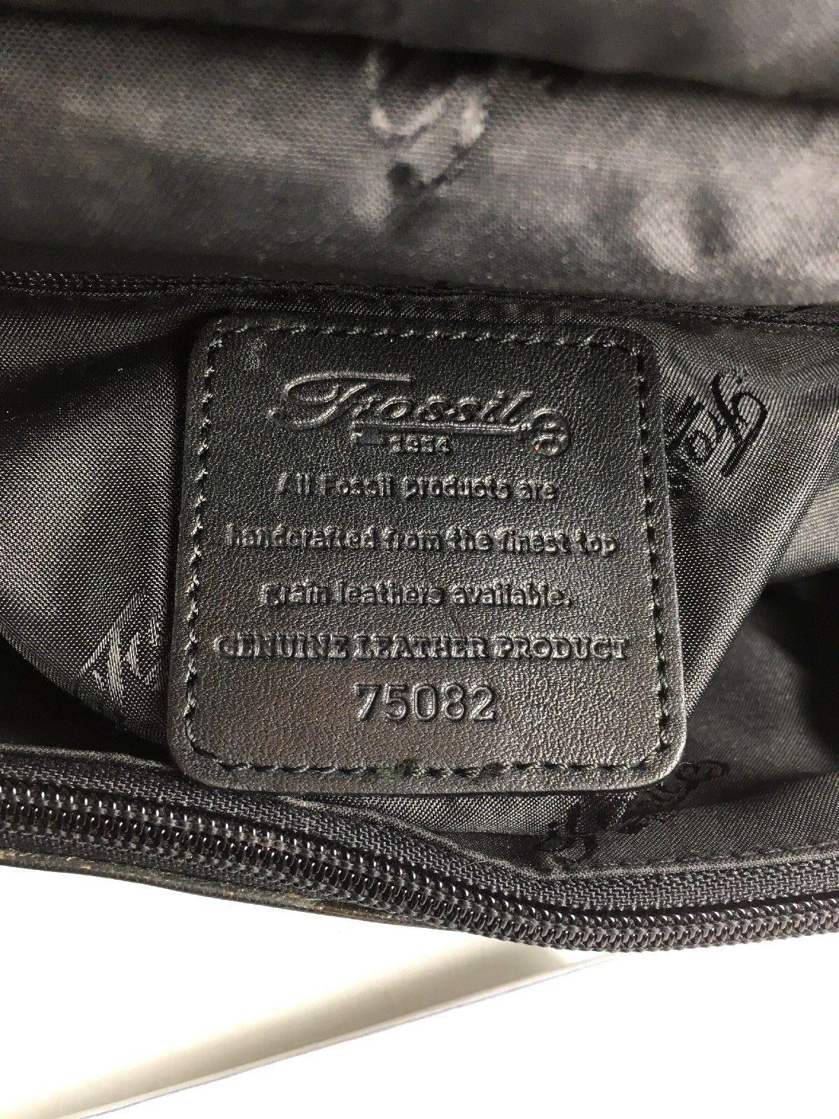 Fossil Vintage Black Smooth Leather Multi Pocket Multi Compartment Shoulder Bag