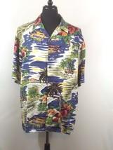 Hilo Hattie Hawaiian Aloha Camp Shirt XL Tropical Scene Palm Trees Huts ... - $38.69