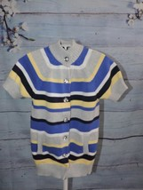 Gymboree Gem Button Stripe Sweater Duster Cotton Girls 10 12 Long Striped School - $15.60