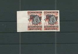 LITHUANIA COMMUNIST PROPAGANDA STAMPS IMPERF PAIR UNMOUNTED MINT CINDERE... - $11.77