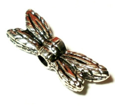 MINI DRAGONFLY WINGS FINE PEWTER BEAD - 13x4x3mm image 1