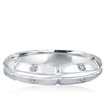 Men's 0.35 Ct Bezel Set Diamond Wedding Band Ring 14k White Gold - $919.71