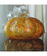 Fall Light Up Hand-blown Orange Yellow Confetti Glass Pumpkins by Ganz - $31.63