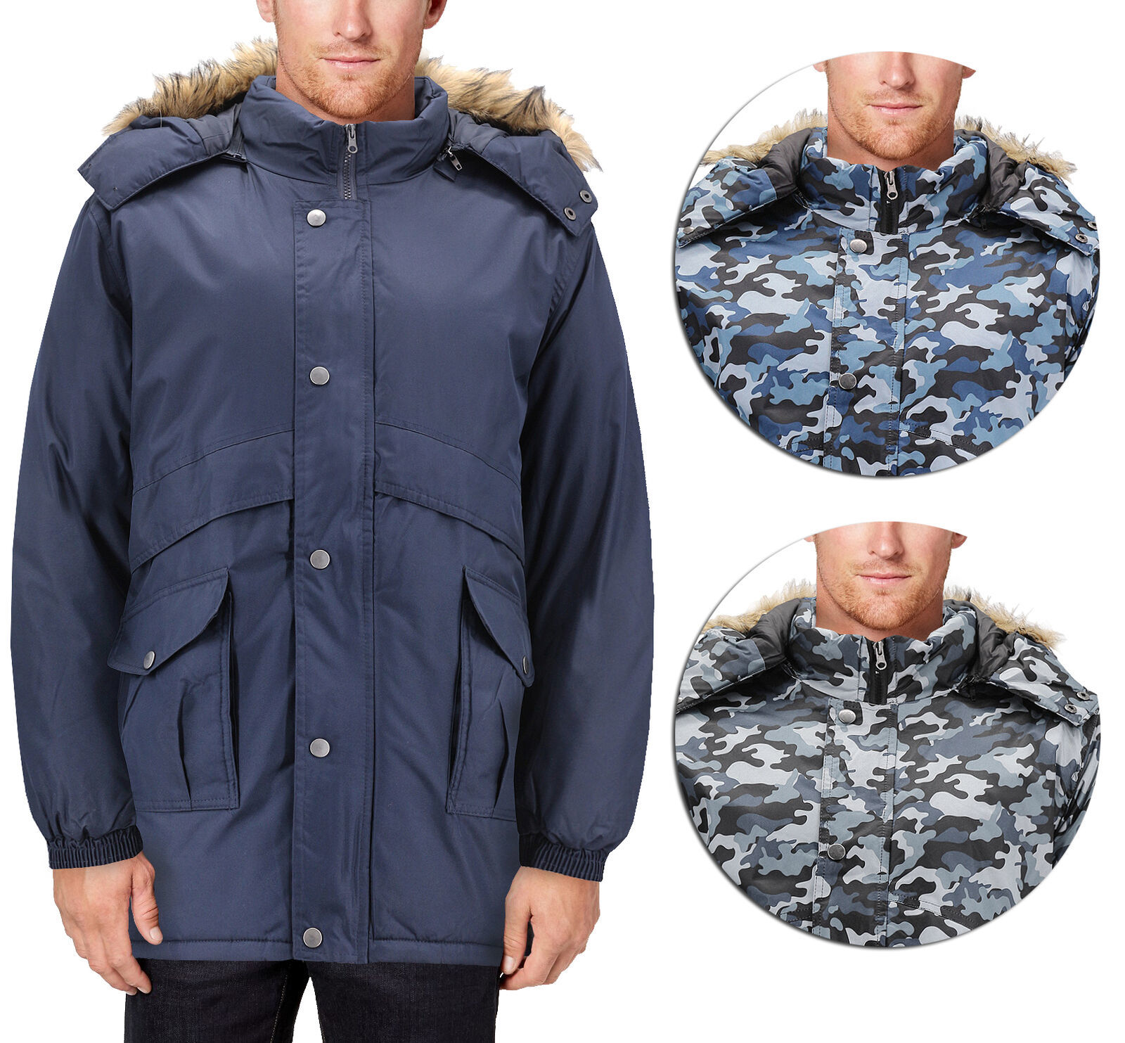Men's Heavy Weight Winter Coat Removable Faux Fur Trim Hood Puffer Parka Jacket