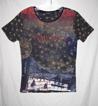 MY Threads USA Bling Gold Studded Stars Flag America Patriotic T Shirt Top S New - $12.86