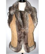 New Womens M LAL Live A Little Leather Suede Vest Faux Fur Trim Brown Gr... - $67.60