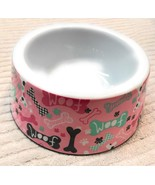 Dog Puppy Bowl Size 6 Inch Feeder Dish Pink With Bones Pattern Woof - $15.08