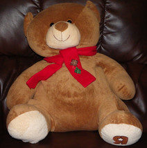 "Jumbo Toys ""R"" Us 2011 Teddy Brown Bear Plush Stuffed Animal w/ Red Argy... - $19.99"