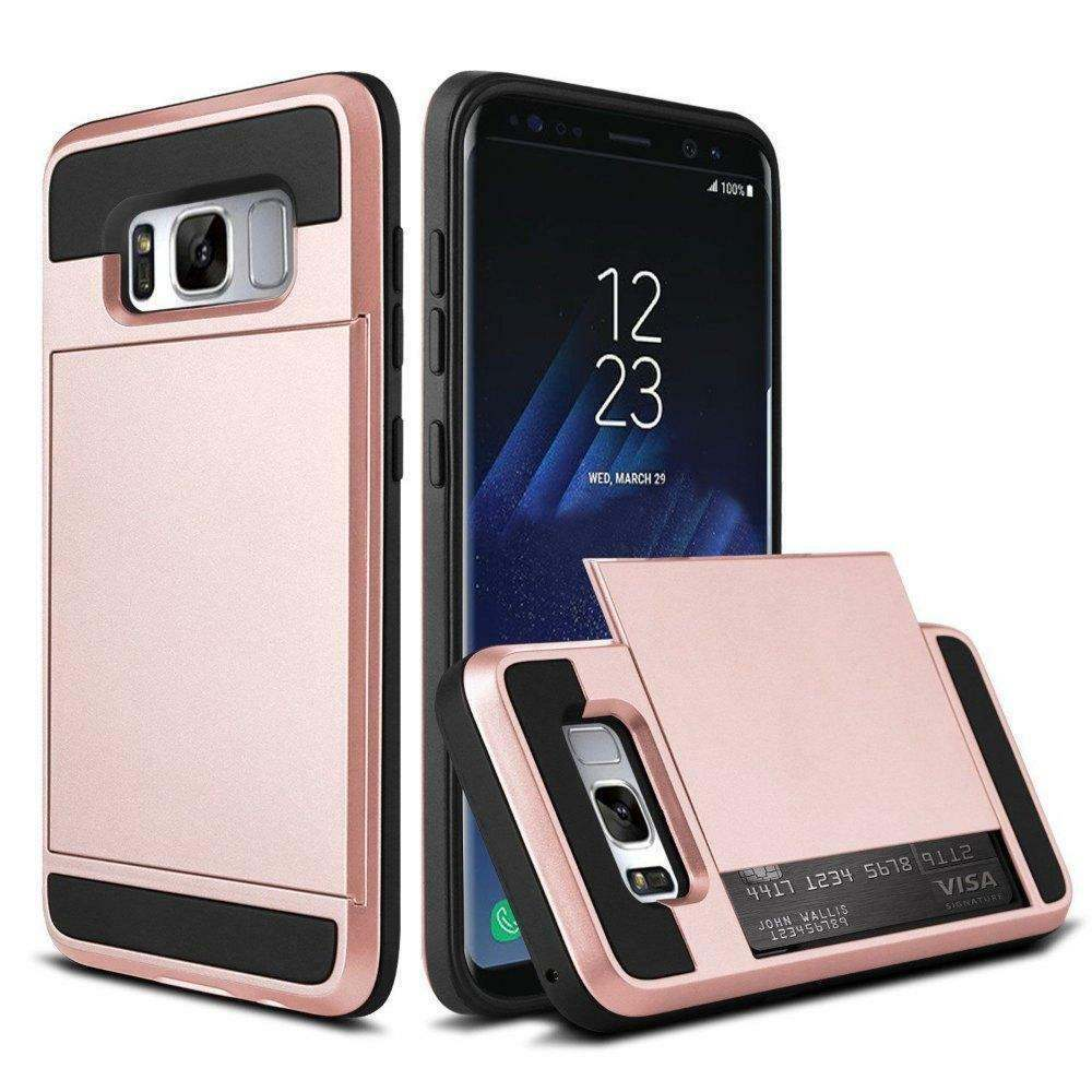Rose Gold Card Case for Samsung Galaxy S8 - Rugged Heavy Duty Credit Holder USA