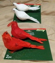 "Christmas House Artificial Birds Choose Cardinal or Dove 2-count. Pack 5.5"" - $2.00"