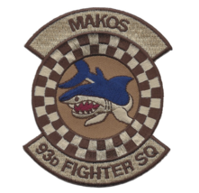 """4"""" Air Force 93RD Fighter Squadron Desert Makos Shark Embroidered Patch - $23.74"""