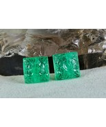 NATURAL COLOMBIAN EMERALD CARVED 15MM SQUARE 28.70 CTS GEMSTONE PAIR FOR... - $4,940.00